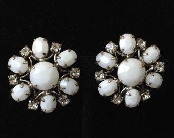 Weiss Shimmer Tremblor Rhinestone Milk Glass Clip Earrings