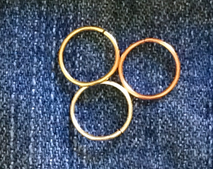 Set of 3 Tiny Gold Silver Rose Cartilage Earring Septum Ring Endless Hoop Tragu Hex Helix Nose Lip Conch Rook Orbit Daith Piercing Sleeper