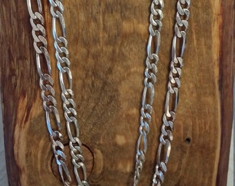 """Sterling Figaro chain Sterling silver chains necklace 20"""" figaro sterling chain necklace Italy 925 silver necklace  NM1673-4 SOLD SEPARATELY"""