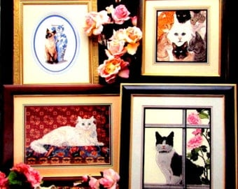 Cross Stitch Books//Fabulous Felines By Cross My heart/A Vintage Collection Lovely Cats, Different Breeds! A Cat Lover's Heaven//On SPECIAL!