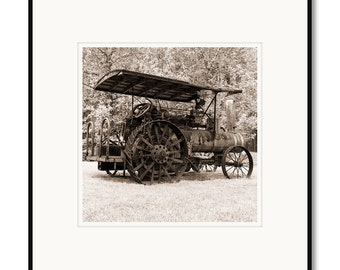 Black and white photography, Virginia, rustic farm tractor, photography, black & white, sepia warm tone, framed photo by Adrian Davis
