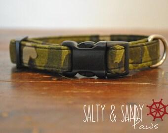 Camouflouge Dog Collar, Military Dog Collar, Boy Dog Collar, Green Dog Collar, Solider Dog Collar