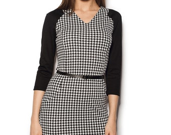 Pencil houndstooth dress with black sleeves Jersey houndstooth dress Dogtooth dress Pied-de-poule dress Border tartan dress Pencil dress