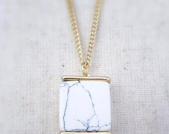 Geometric necklace, gold necklace, long necklace, white howlite necklace, white howlite jewelry, simple necklace, classic necklace, gift