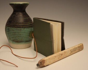 Small Green Leather Journal With Button