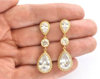 Gold Dangle Bridal Wedding Earrings Cubic Zirconia Teardrop Earrings Bridal Crystal CZ Earrings Bridal Jewelry