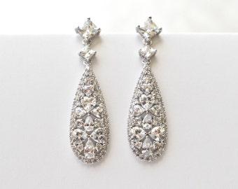Silver Wedding Earrings Cubic Zirconia Teardrop Earrings Art Deco Bridal Crystal CZ Earrings Bridal Jewelry