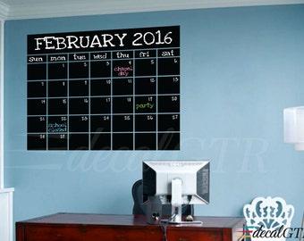 Chalkboard Monthly Calendar Decal - Chalkboard Decal - Chalkboard Wall Calendar - Black Chalk Board  Calendar Decal Vinyl Sticker - C066