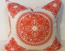 Orange and White Pillow Cover, Custom Decorative Pillow Cover - Ty Pennington Home Decor Fall 11 Medallion