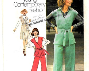 Vintage 1970s Linen Jumper, Denim Top or Pants Simplicity SEWING Pattern 7337, Size 8, Bust 31 1/2, **Free Shipping**