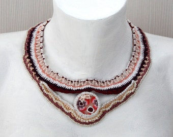 Beaded lace necklace, Crochet Necklace, Free form crochet necklace, Beaded Crochet Necklace, Cotton Necklace