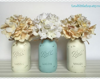 Set of 3 Mason Jars-Home Decor-Mason Jars Centerpiece-Wedding Centerpieces-Country Decor-Rustic Decor-Shabby Chic Decor-White-Gray-Mint-Blue