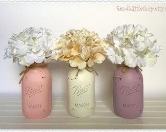 Set of 3 Mason Jars-Home Decor-Mason Jars Centerpiece-Wedding Centerpieces-Country Decor-Vintage Decor-Shabby Chic Decor-White-Gray-Pink