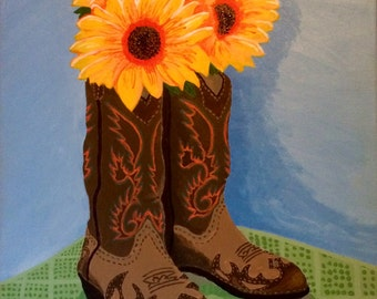 Cowboy Boot Painting Etsy