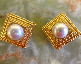 Vintage 1980s Sphinx Pearl Square Button Earrings, Clip-on