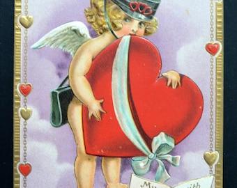 Valentine's Postcard Cupid Delivering Heart Jason Frexias Design