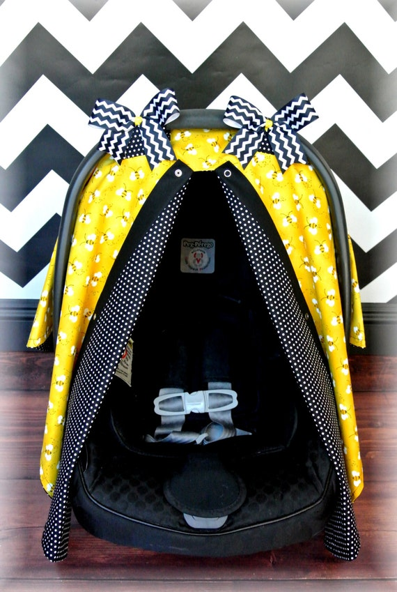 yellow bumble bee black and white polka dot bows carseat. Black Bedroom Furniture Sets. Home Design Ideas