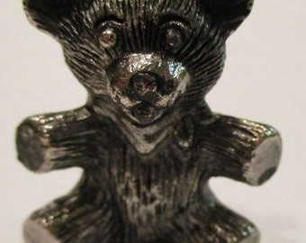 "Pewter Bear, seeking new home, figurine, collectible, 1 3/8"" tall and 1 1/4"" base, Vintage"