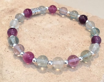 Purple and green bracelet, fluorite gemstone bracelet, sterling silver bracelet, stretch bracelet, elastic bracelet, natural bracelet