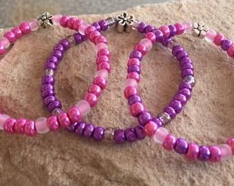 Purple, pink or purple and pink children's bracelets, gift for child, Czech glass seed bead bracelet, stretch bracelets, elastic bracelet