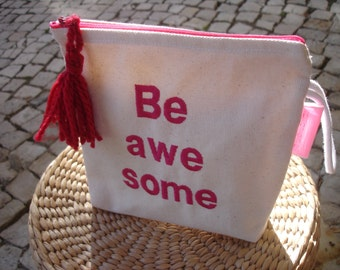 Take me anywhere - Little canvas clutch