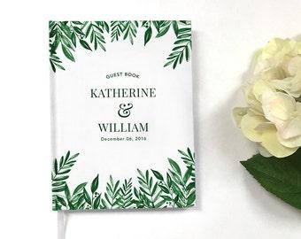 Wedding Guest Book - Modern Wedding Guestbook - Custom Guest Book - Personalized Guestbook - Wedding Keepsake - Green Botanical Guestbook
