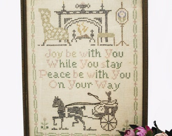 SALE Vintage Cross Stitch Welcome Sign, Quote on Wall, Hand Made, Mounted Artwork, Fireplace Decor, Stitched, Cottage Chic, Housewarming
