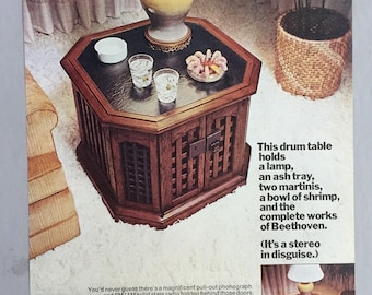 1971 Magnavox Drum Table Stereo Print Ad