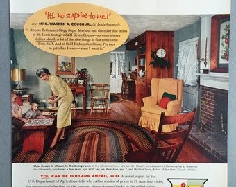 1959 S&H Green Stamp Print Ad featuring Mrs. Warren A. Couch Jr.