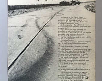 1973 Travelers Insurance Print Ad for No-Fault Automobile Insurance