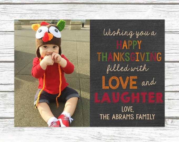 Thanksgiving Photo Card, Holiday Chalkboard Picture Card, Fall Photo Card, Printed or Printable Options