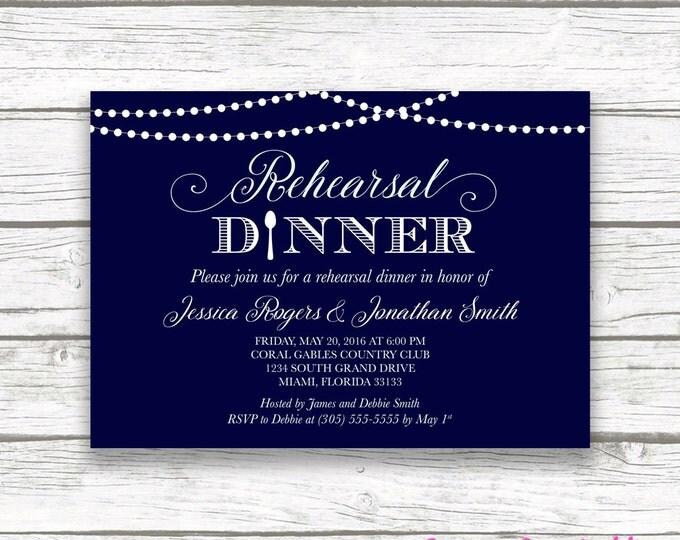 Rehearsal Dinner Invitation, Rustic Lights Rehearsal Dinner Invitation, String Lights Invitation, Blue Rehearsal Dinner Printable Invite