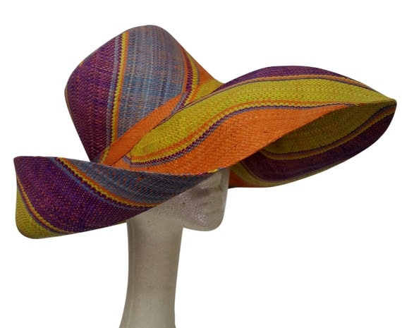 Raziya: Multicolored Madagascar Big Brim Shapeable Raffia Hat (7 inch Brim)