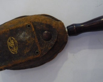 "Darling 1920""s Hat Brush in Wonderfully Shabby Leather Case made by the Fuller Brush Co."