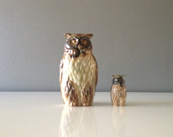 2 Vintage Ceramic Owl Figurines