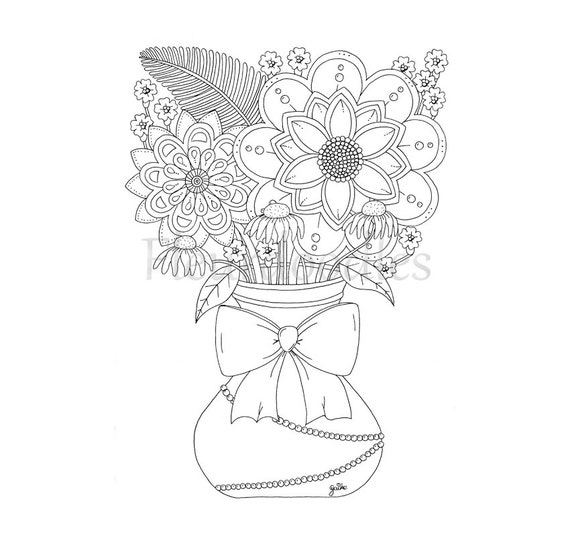 flower vase coloring page. coloring page  bouquet floral instant download flower vase books colouring Fleurdoodles botanical romantic from on