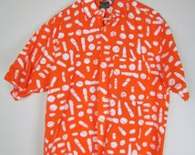 izod short sleeve button front shirt / 1990s vintage / orange & white