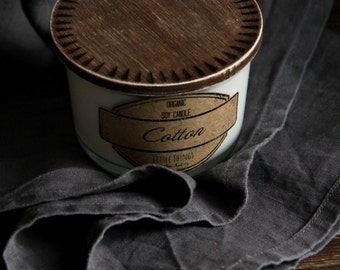 Soy Candle - Cotton - Organic Natural Soy Wax Scented Candle - 7 oz.