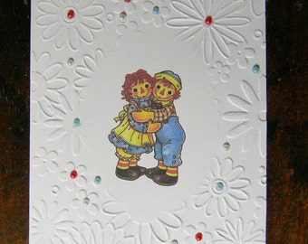 Embossed All Occasion Greeting Card, Raggedy Ann/Andy Embossed Card, Blank Inside or With Sentiment Option, Handmade Greeting Cards