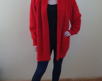 Vintage Classic Cashmere and Wool Womens Blazer Bright Red Longsleeves Womens Jacket Ladies Blazer Decoratice Lace