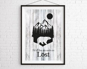 Bear and Moon Digital Wall Art Print / Bear Silhouette Print / Animal Print / Art Print / Graphic Print