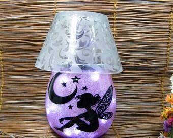 Pink Fairy Lamp, Fairy Jar, Moon Fairy, Lantern, Wedding Lantern, Pixie Light, Fairy Decor, Glitter Fairy, Night Light, Garden Fairy