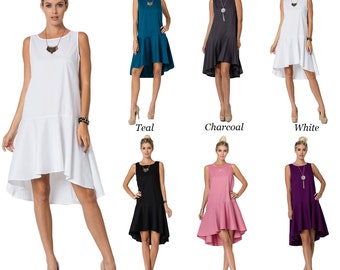 D10207 Sleeveless Cotton Round Neck High Low Flared Ruffle Skirt Front Dress (MADE IN USA)