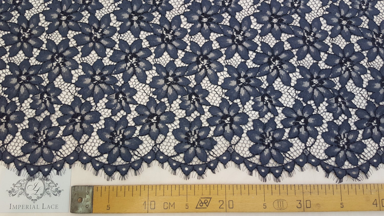 BLUE lace fabric spanish style Navy blue Alencon lace