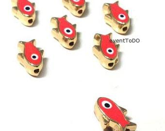 Wholesale Evil eye 50-300 charms Enamel Sliders fish Evil ' s Eye supplies jewelry charms supplies martyrika red evil eye Baptism supplies