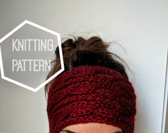 Chunky Cable Knit Ear Warmer Pattern, Knitting Patterns for Women, Cable Knit Headband Pattern, Cable Knitted Head Band, Winter Ear Warmer