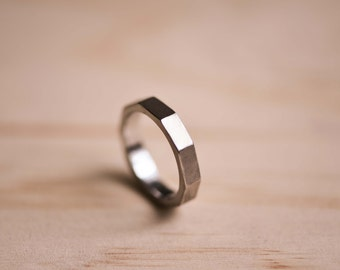 Brushed Decagon Stainless Steel Ring