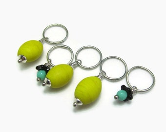 Stitch markers for knitting, yellow and turquoise glass knit markers