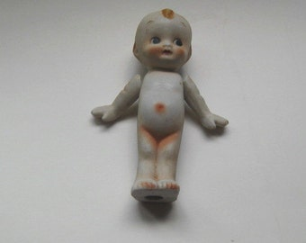 BISQUE DOLL UNMARKED Vintage 5 inch red hair movable arms