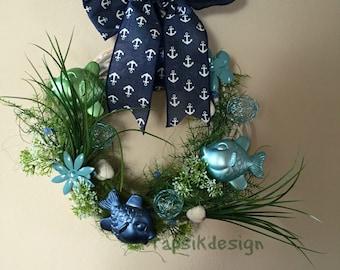 All Season Wreath w Artificial Fish, Mothers Day Wreath, Wall Decor, Home Decor, Front Door Wreath, Nautical Wreath, Fish Decor, Beach Decor